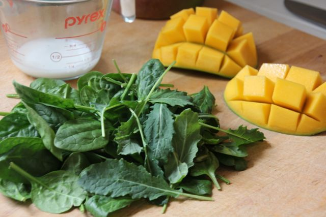 spinach and mangos