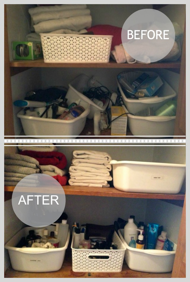 Before and after organizing hall closet
