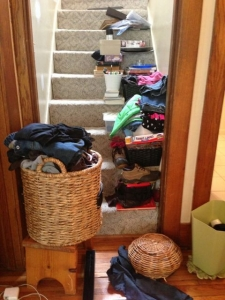 Clutter on stairs
