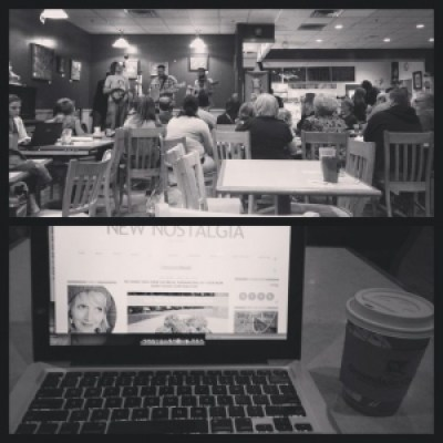 Working on blog in coffee shop