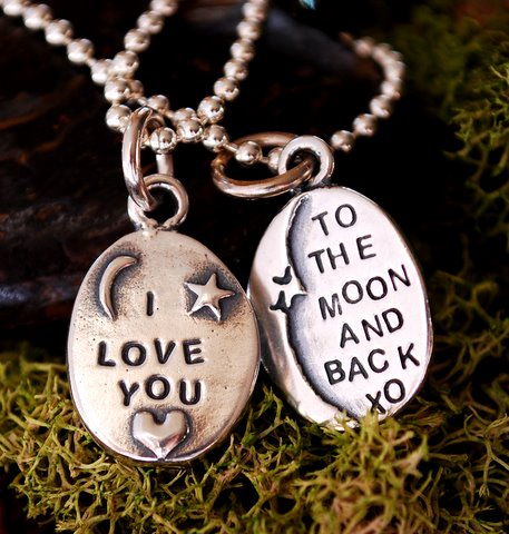 I love you to the moon and back best friend necklaces