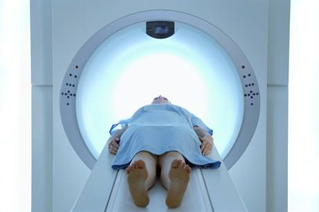 Woman in PET scan
