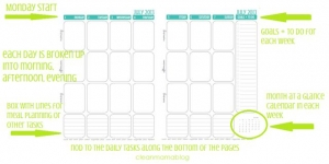 Clean Mama outline to a planner page
