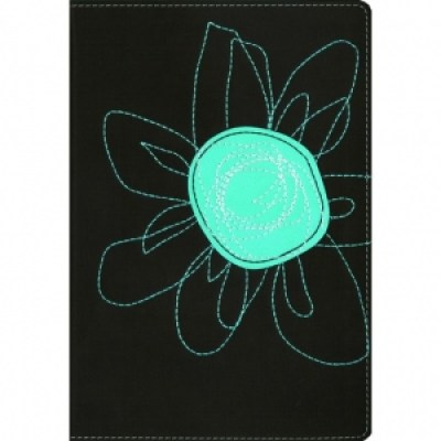 NIV Student Bible Italian Duo-Tone Espresso/Turquoise flower