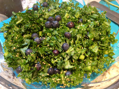 Raw kale and blueberry salad