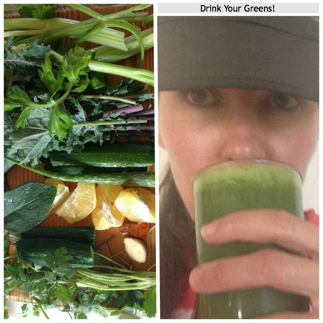 woman drinking green juice and green juice ingredients