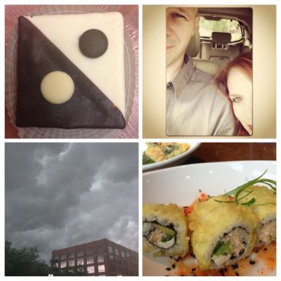 Date night with husband and eating sushi and fun desserts