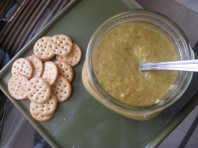 Vegan cream of broccoli soup and crackers