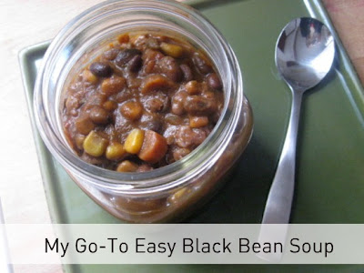 Easy black bean soup with spoon