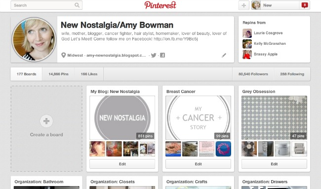 New Nostalgia Main Pinterest Boards page