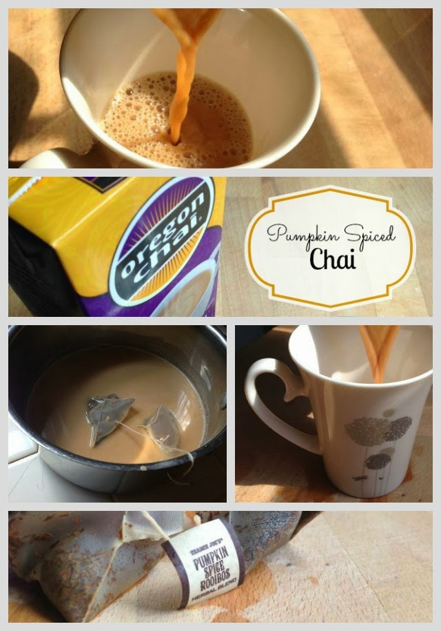 a collage of pumpkin spice chai photos
