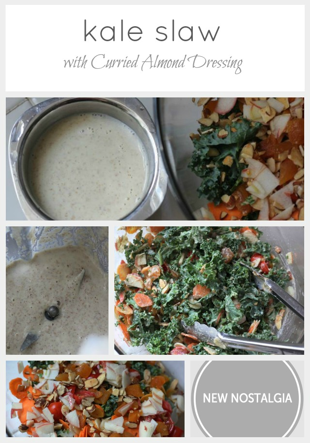kale salad with almond curry dressing picture collage for Pinterest