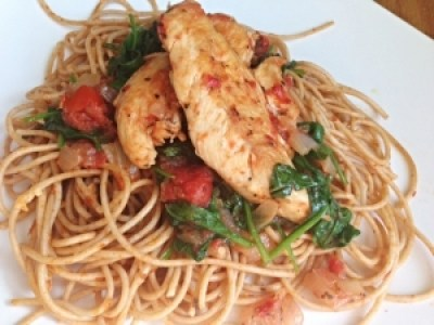Herbed Skillet Chicken with Tomatoes & Spinach