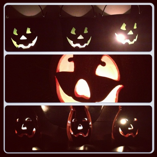 lit up jack o lanterns