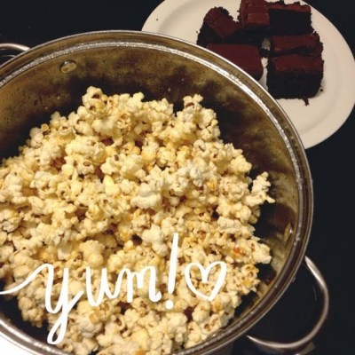 kettle corn & chocolate cake