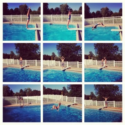 9 pics of pool and diving board dives