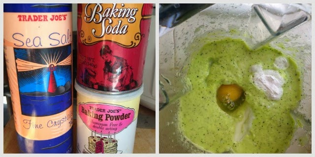 baking soda, salt & baking powder canisters.  Egg added to blender