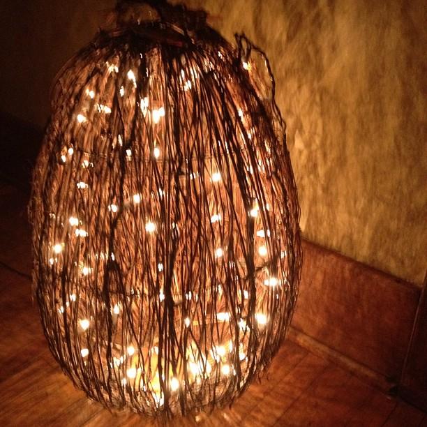 white lights on twig pumpkin
