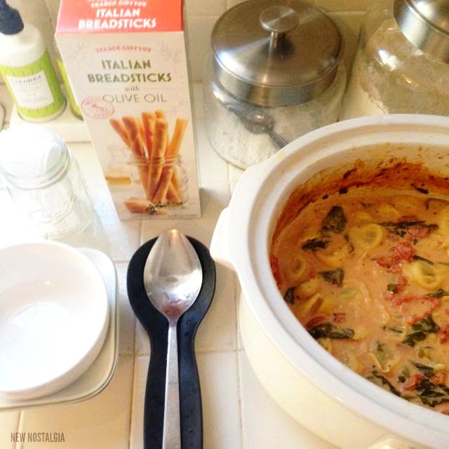 Tortellini Crockpot Soup Closeup With Spoon