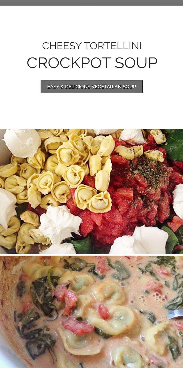 Cheese Tortellini Crockpot Soup & Ingredients