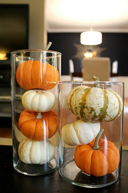 Pumpkins In Vases