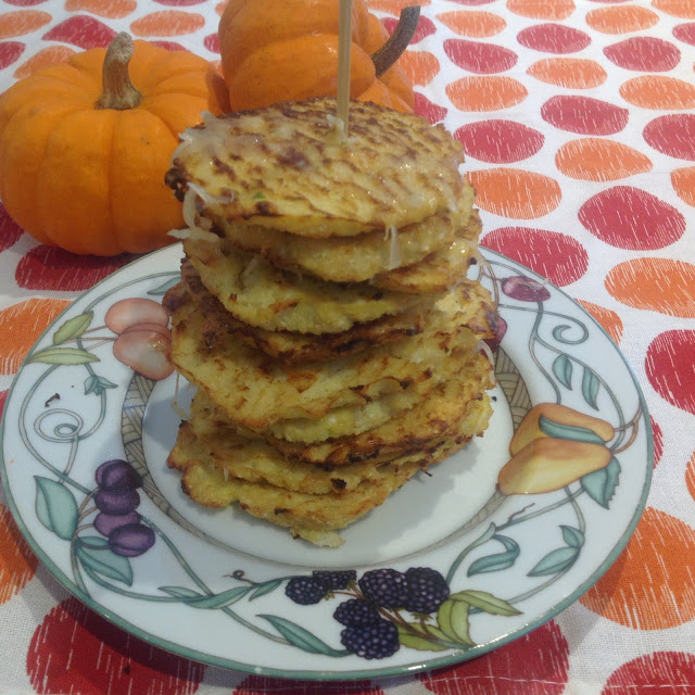 cauliflower patties stacked