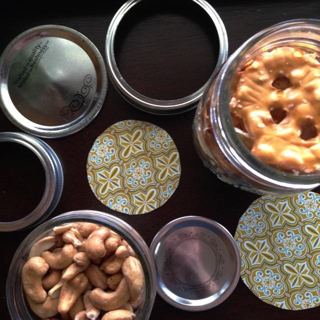 mason jars full of snacks