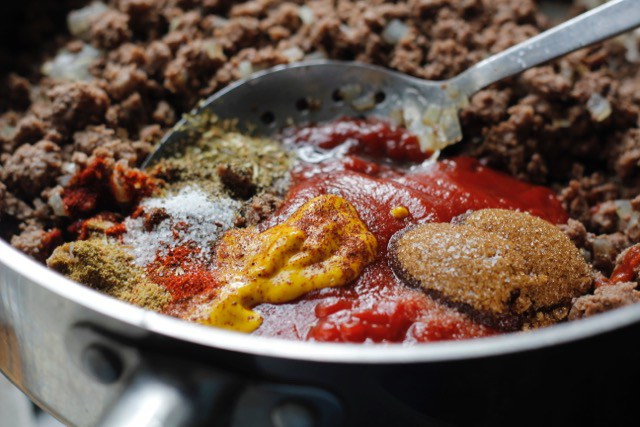 Pan of Sloppy Joes ingredients