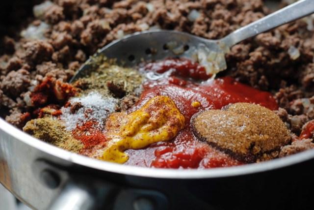 Pan of Sloppy Joes ingredients