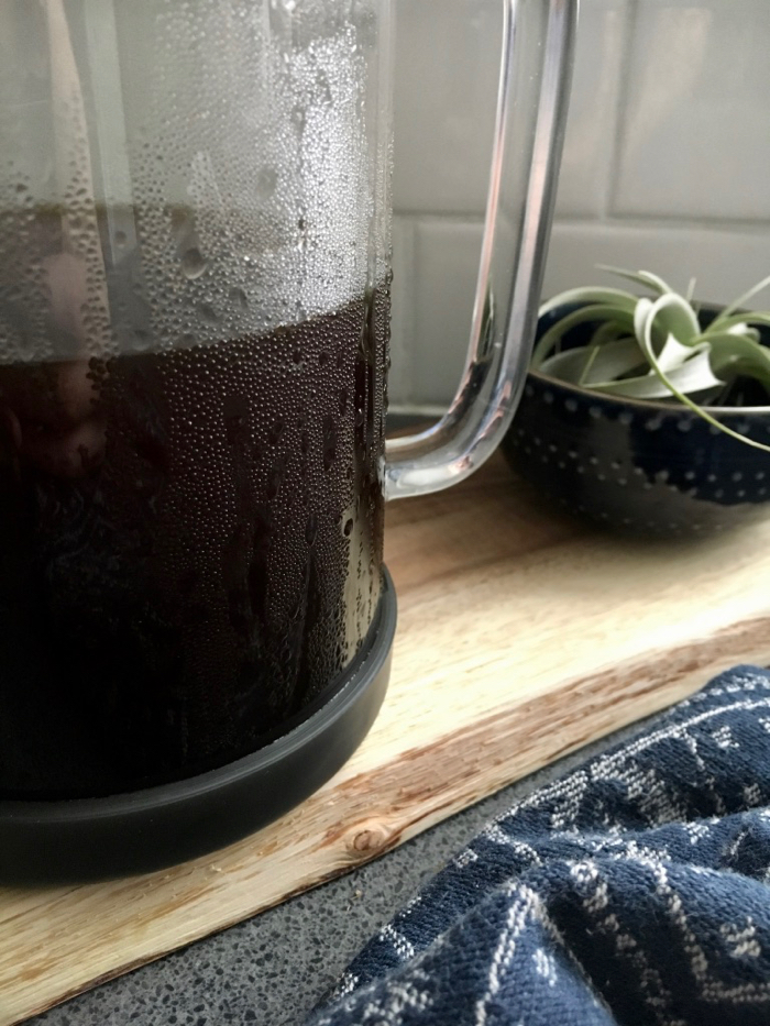 pitcher of iced cold brew coffee