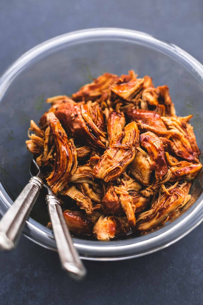 shredded teriyaki chicken in an Instant pot