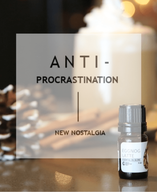ANTI-PROCRASTINATION a mug and fall oil blends.