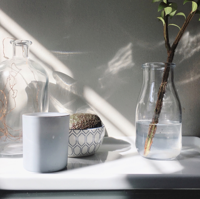Sunlight and shadow on a kitchen wall