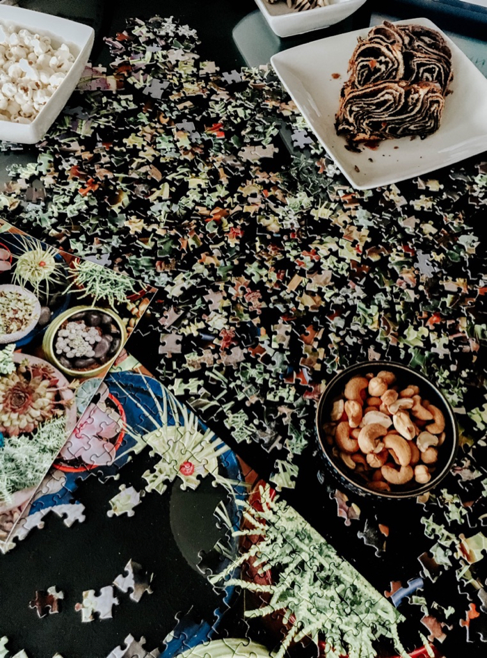 table with succulent puzzle and snacks for family night