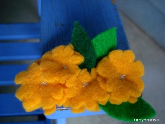 DIY Yellow Felt Flower Clip