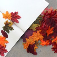 Create a simple fall leaf garland using a package of fake leaves!