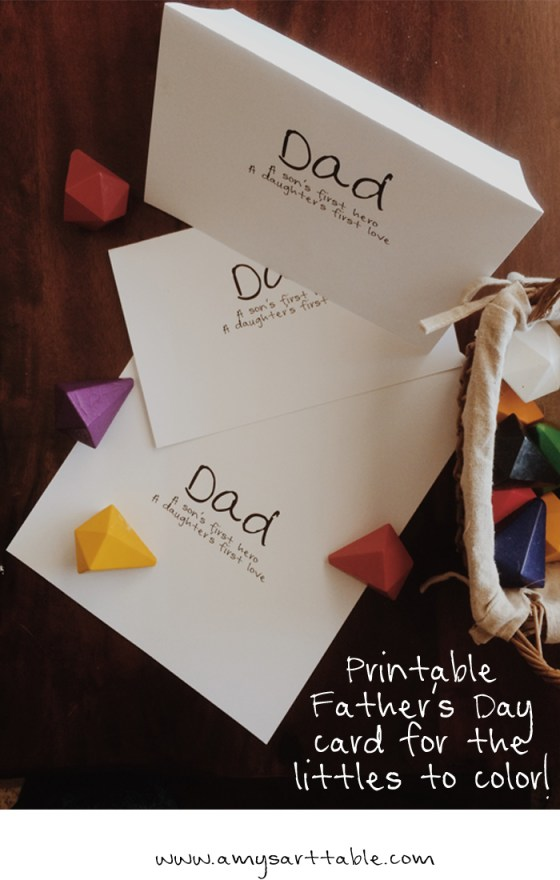 father's day card free printable for the littles to decorate