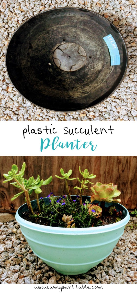 Spray paint a large plastic pot and add multiple succulents for a pretty garden addition