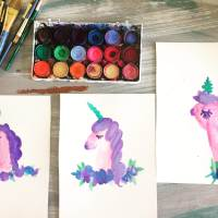 Watercolor tutorial, how to paint a purple unicorn. Learn to paint a unicorn with your kids with simple step by step instructions.