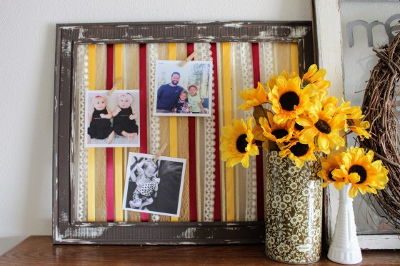 Check out my Fall mantle makeover on the blog this week. I made this fun ribbon art piece in Fall colors and added photos to personalize!