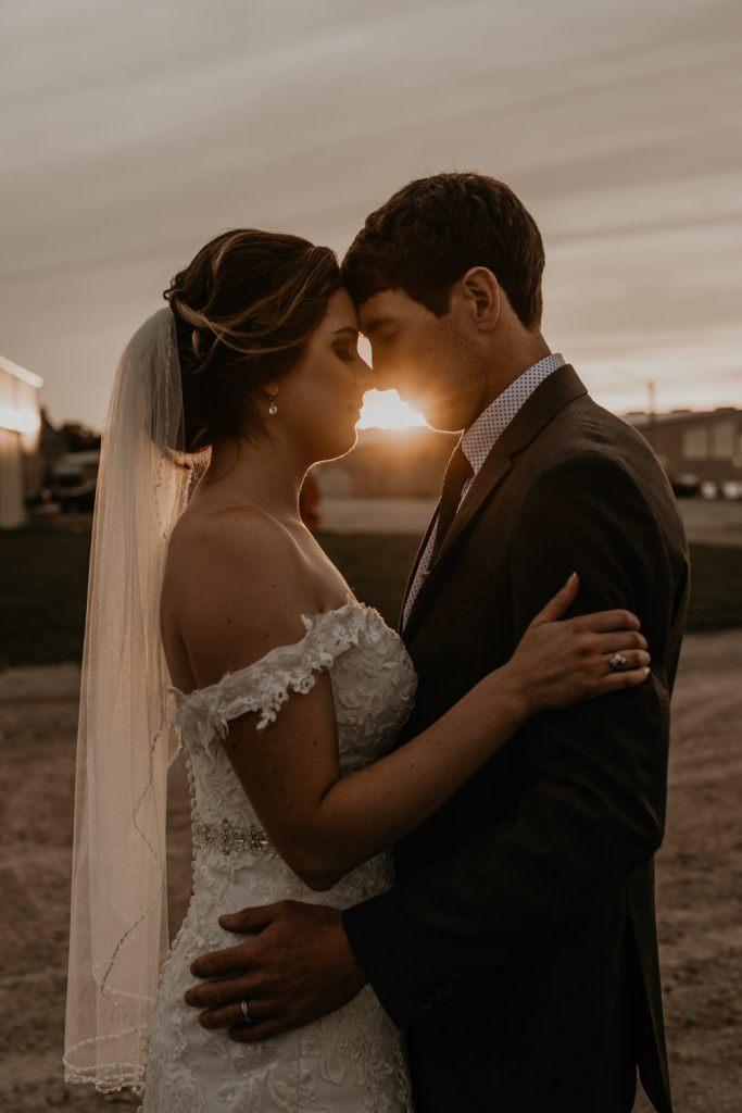 Moody sunset wedding photo