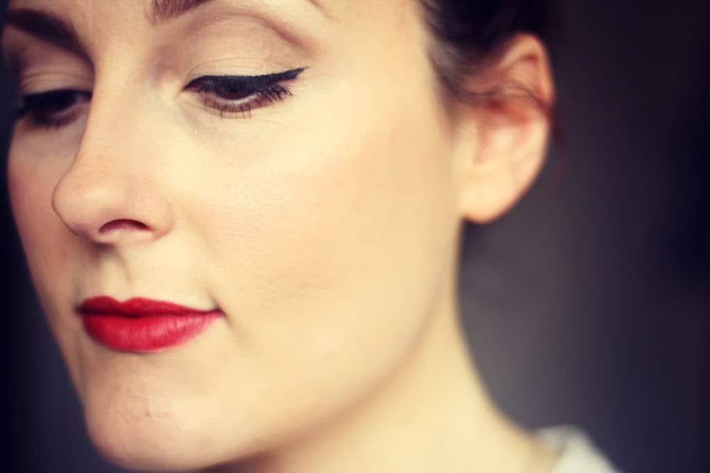 An easy red lipstick make up look and Dermalogica skincare routine.