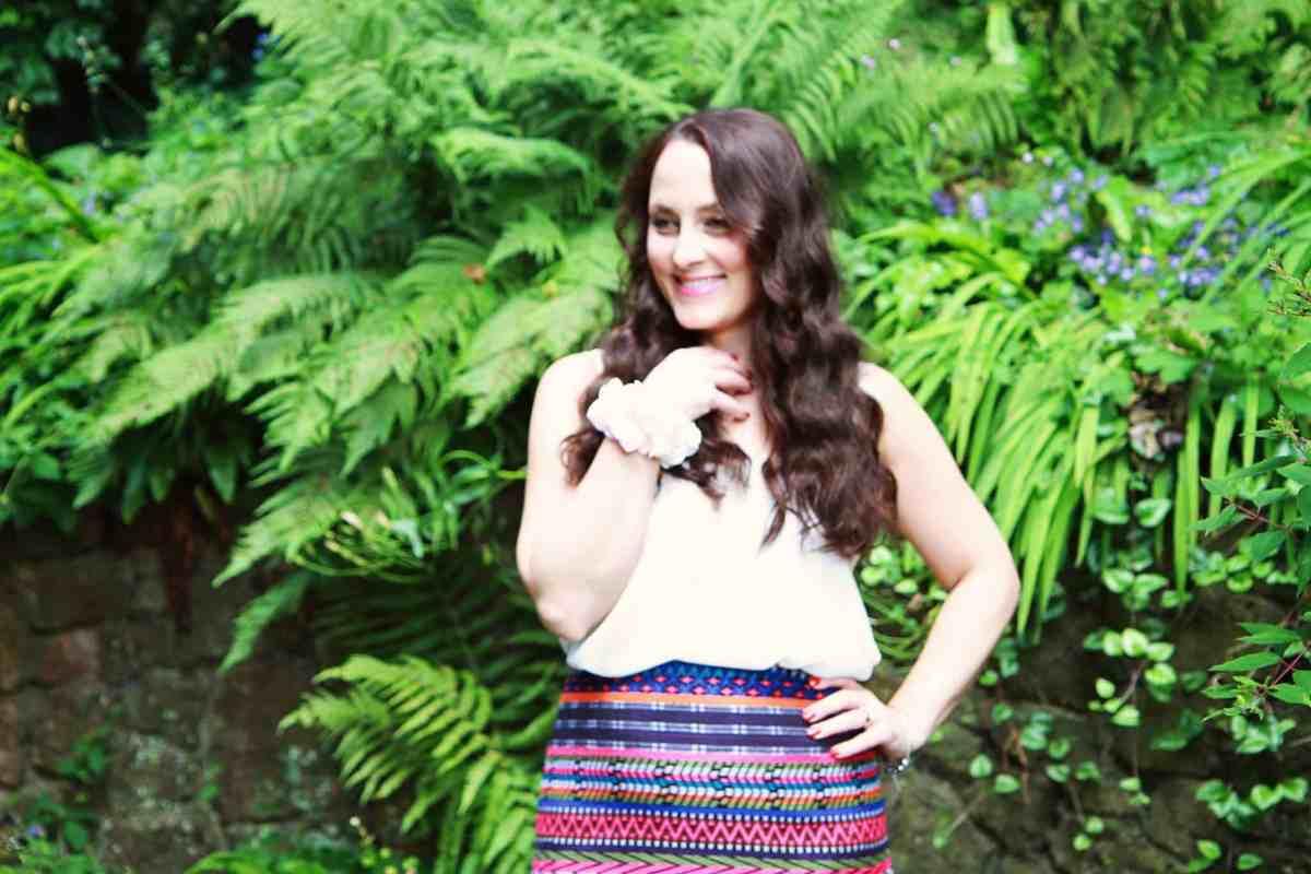 Printed skirt from Topshop, flower wrist garland