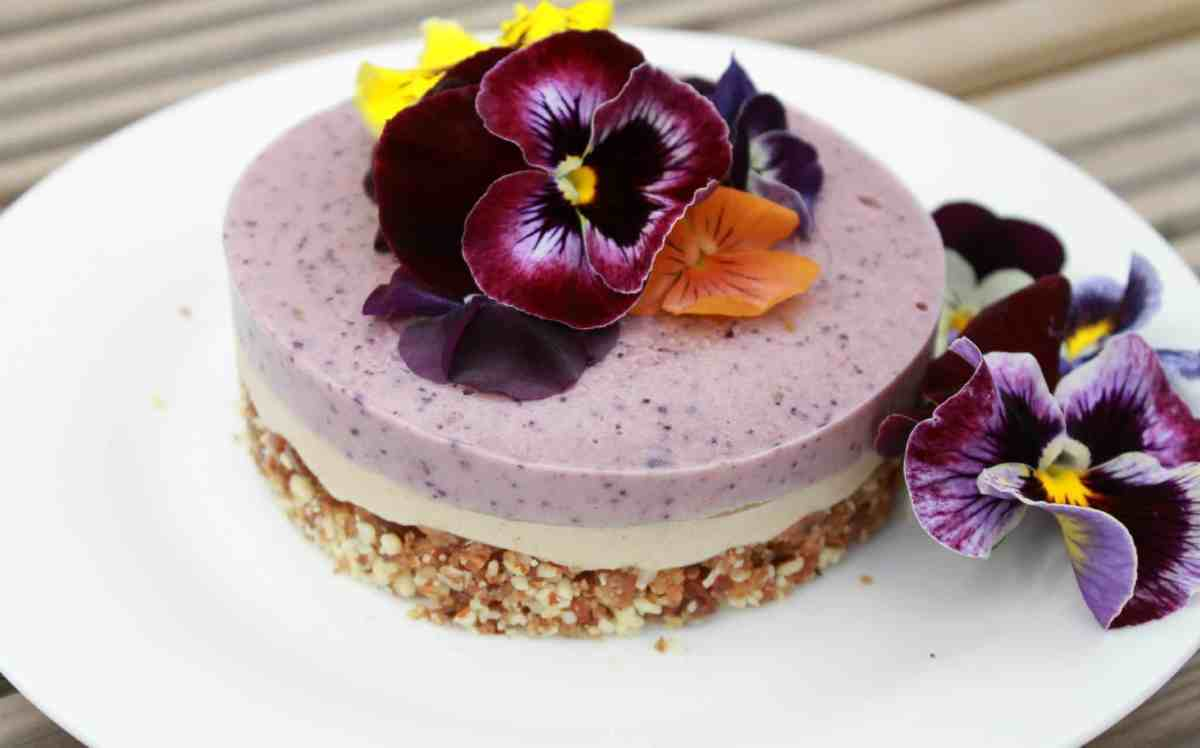 raw berry cheesecake with edible flowers