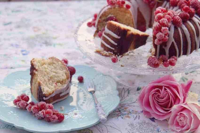 Slice of lemon drizzle bundt cake