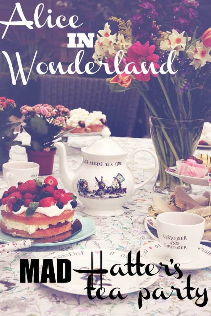 An Alice in Wonderland Mad Hatter's tea party. Using tableware from Mrs Moore's vintage store, fine bone china mugs , plates and teacups. We served pink tea and cucumber triangle sandwiches. Our cake showstopper was a simple victorian sponge topped with fresh cream and a fruit.