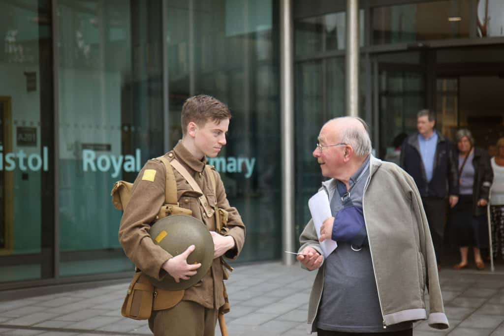 Outside the BRI the young lad dressed as a soldier to mark the centenary of the Battle of the Somme