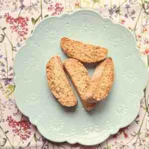 Orange and hazelnut biscotti on a plate