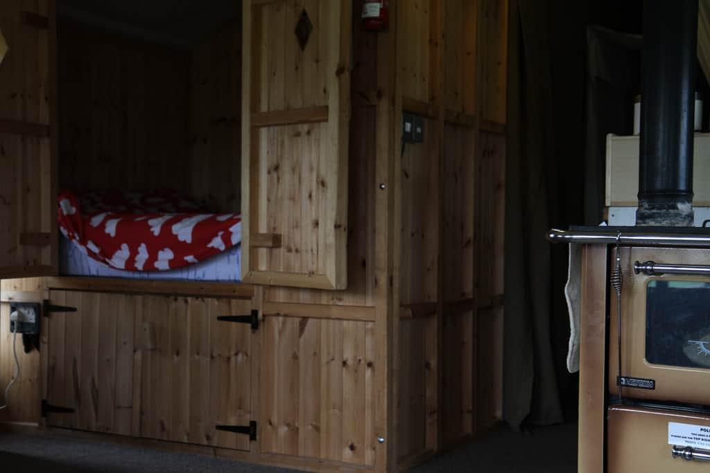 cubby hole inside luxury safari tent creamy adventure park