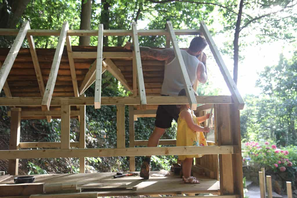 A treehouse made from wood